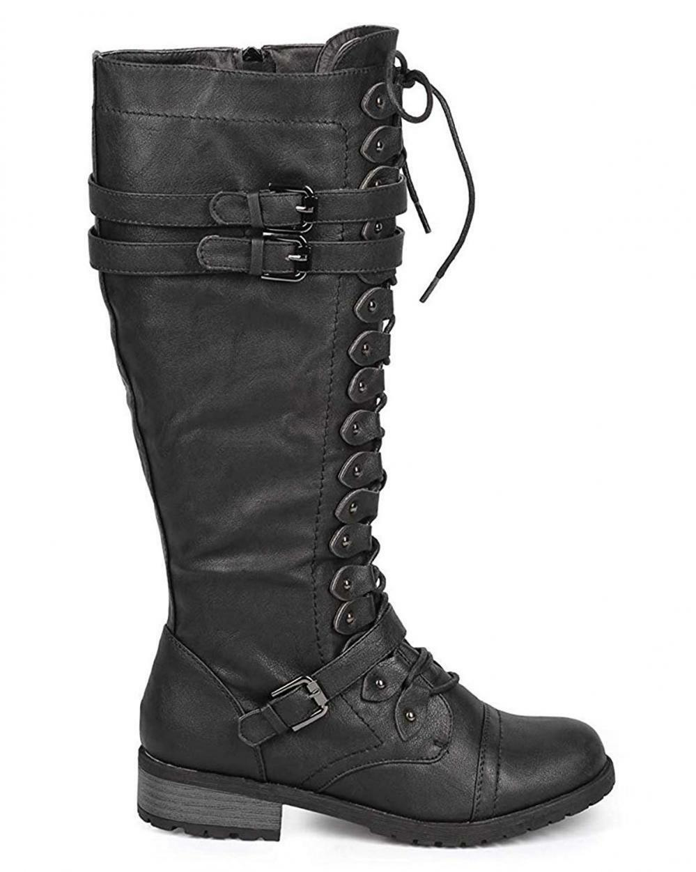 Wild Diva Damenschuhe Timberly-65 Lace Up Knee High Stiefel
