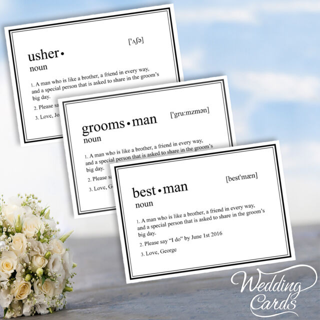 Will You Be My Best Man Usher Groomsman Invitation Invites Wedding Card