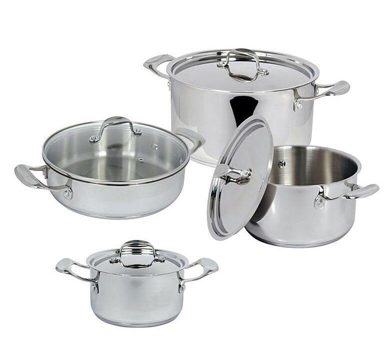 Haute qualité 8 pièces en acier inoxydable Cookware Set-Casserole Casserole Poêle
