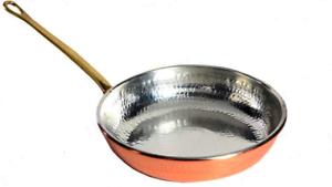 Poêle Cuivre étamé de cuisine poignée laiton 33 cm