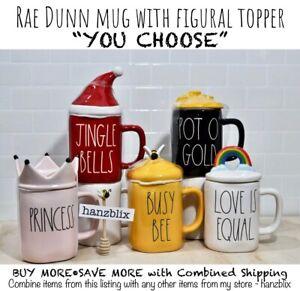 "Rae Dunn ""YOU CHOOSE"" Mug Figural Topper Rainbow Lemon Bee Christmas NEW'20-21"