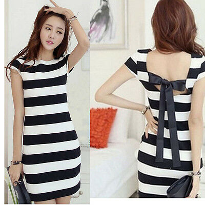 Women Sexy Mini Stripe Dress Horizontal Crew Neck Back Bow Party Dresses Summer