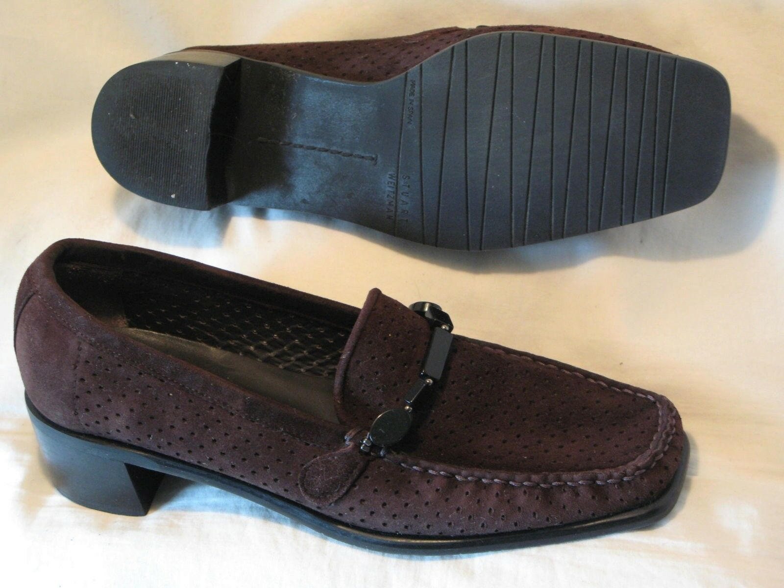 Stuart Weitzman Brown Suede Leather shoes Loafers Wmn Sz 5 M  Moc Toe Pumps