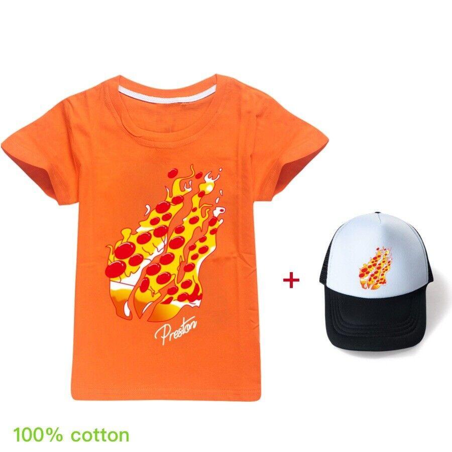 Kids Boys Girls PRESTONPLAYZ Short Sleeve Casual T-shirt Tee Tops+Caps Hats