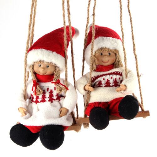 """Bonito /""""invierno niños/"""" pareja en una holzschaukel navidad figuras decorativas"""