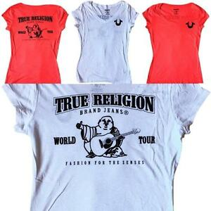 Womens-True-Religion-Red-White-V-Neck-Buddha-Soft-T-Shirt-Tee-Top-XS-S-M-L-XL