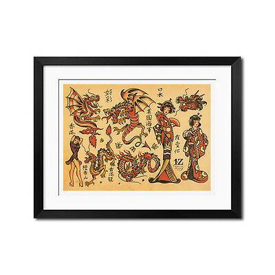 Hawaii ALOHA MONKEY vintage Sailor Jerry Traditional style tattoo poster print
