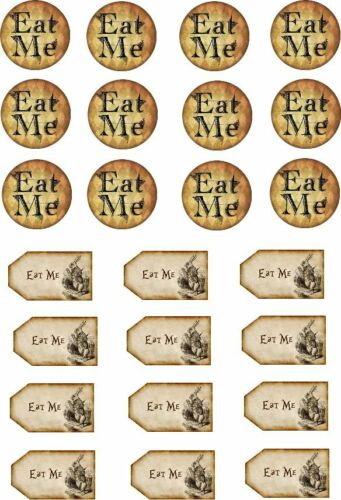 24 Eat Me Vintage Alice Cupcake Cake Toppers Edible Rice Wafer Paper Decorations