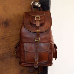 Leather-Bag-Real-Backpack-Travel-Rucksack-Handmade-S-Men-Vintage-New-Laptop