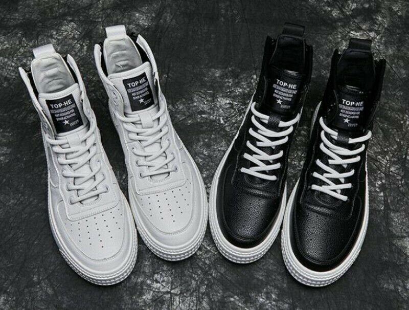 Mens Hip Hop Street Collegiate Casual Lace Up Round Toe High Top Shoes Young Zip