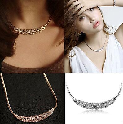 Choker Chunky Charm Jewelry Pendant Chain Crystal Statement Bib Necklace