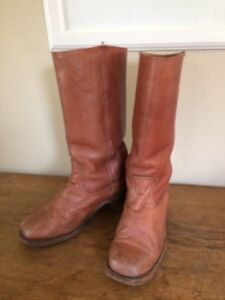 948d48ce73ab6 Details about Vintage FRYE Leather Boots Motorcycle Engineer 2950 Brown Men  8 D Women 9.5 Wide