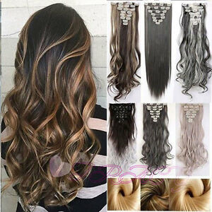 Real-Natural-New-Clip-in-Hair-Extensions-8-Pieces-Full-Head-Long-As-Human-H817