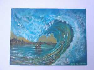 Original-Acrylic-Painting12-x16-Wave-City-Boat-Canvas-Panel-Beach-Coastal-Art