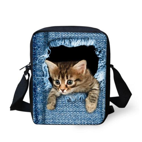 Cute Cat Small Crossbody Bag Messenger Handbag Purse Satcehl Blue Jeans Printing