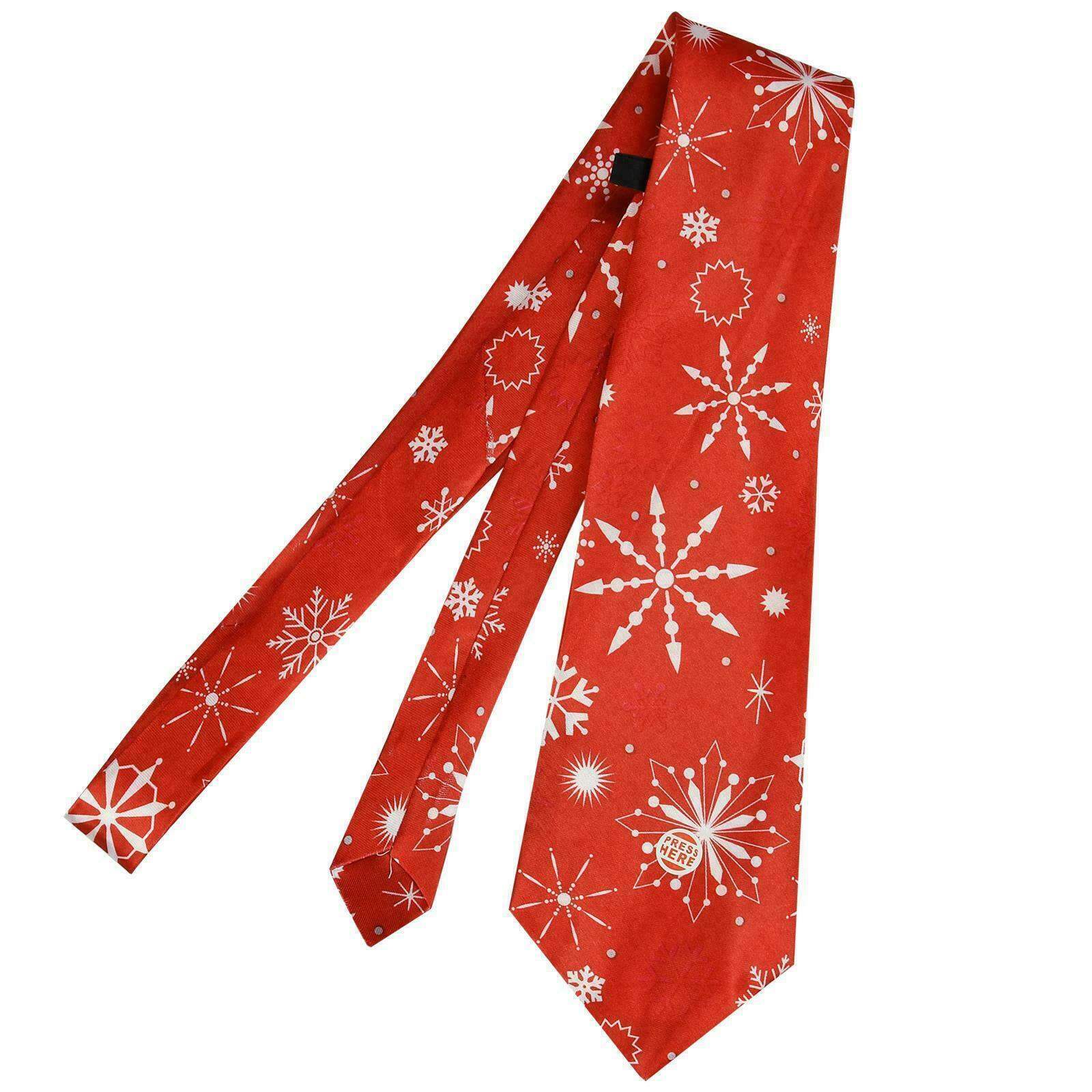 Christmas Musical Tie Novelty Xmas Tree Gift Office Staff Party RED SNOWFLAKES