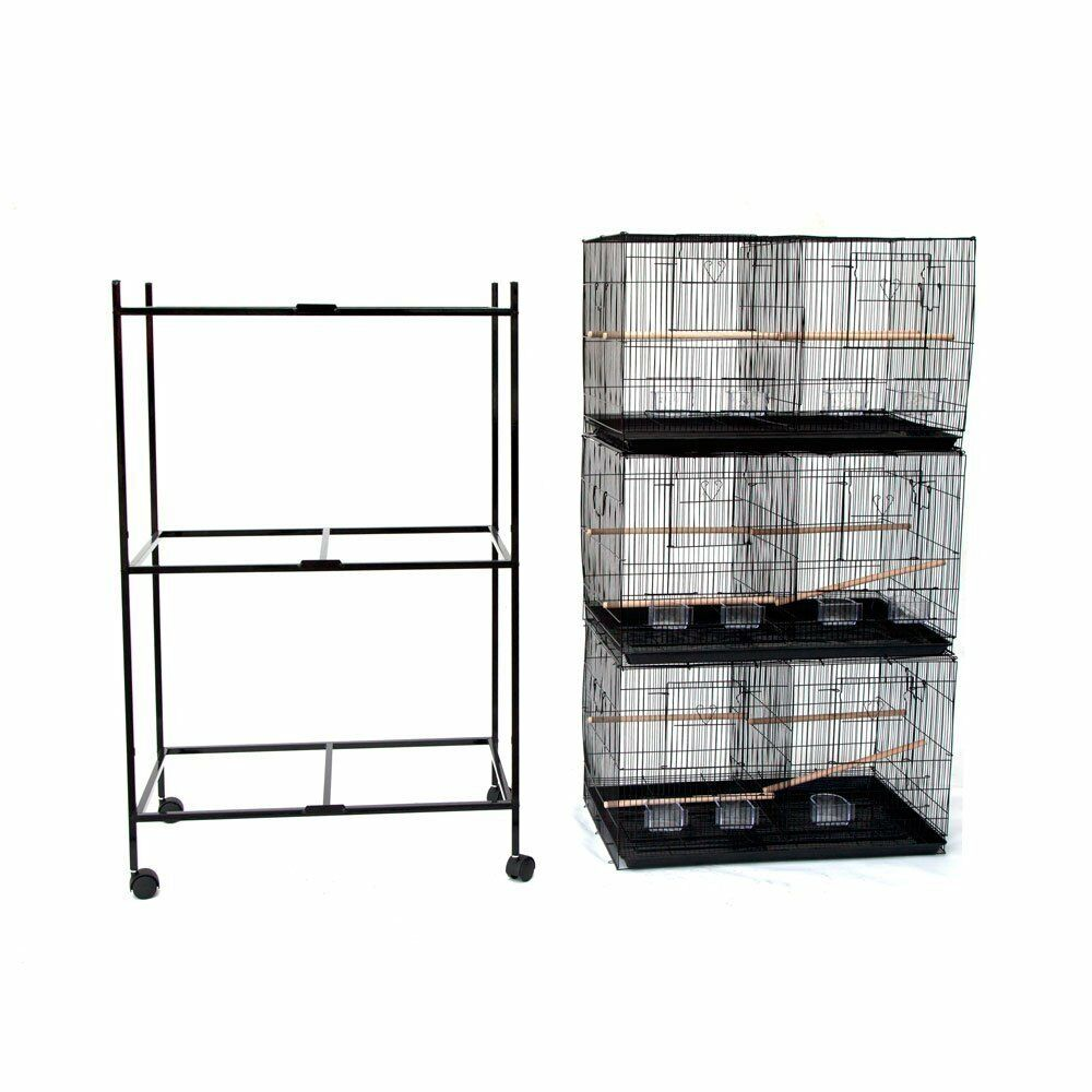 Lot of 3 Large Bird Breeding Cage 30x18x18 H  With Divider With Rolling Stand281
