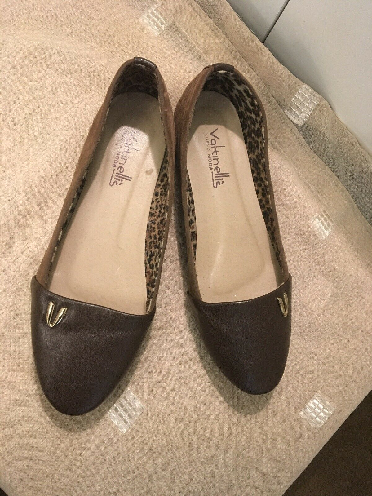 """Ladies Brown Leather Look Flats By""""Valtinellis""""size 6uk(39)"""