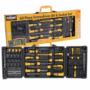 rolson 60pc screwdriver set cross head philips slot dr sockets tool box bnib ebay. Black Bedroom Furniture Sets. Home Design Ideas