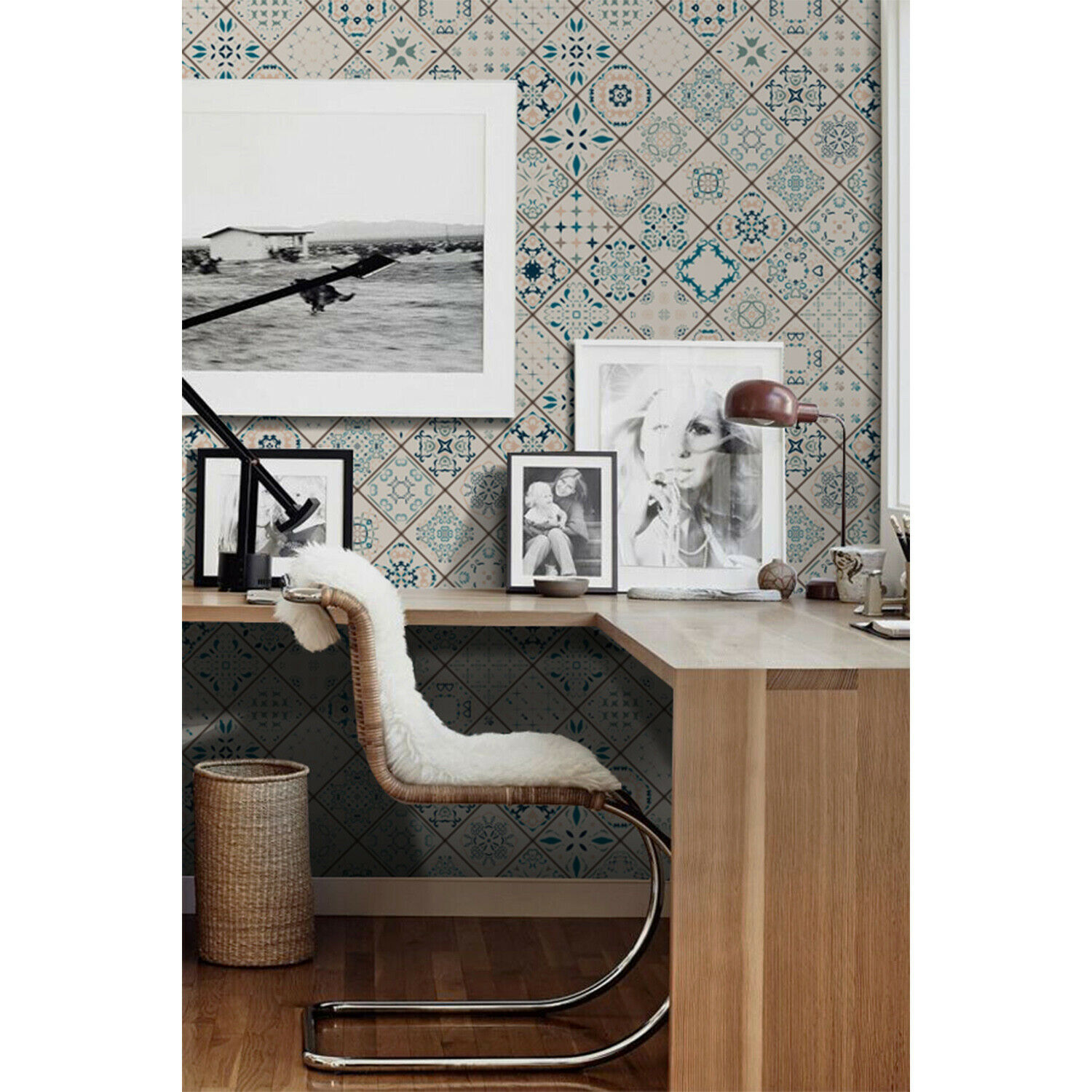 Tiles composition Non-Woven wallpaper Geometric Pattern Traditional Home Mural
