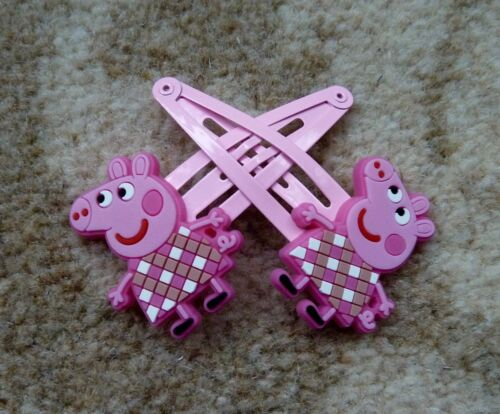 Peppa Pig Girls Hair Clips - Peppa with Pink Checked Top x 2, New (Ref 1007)