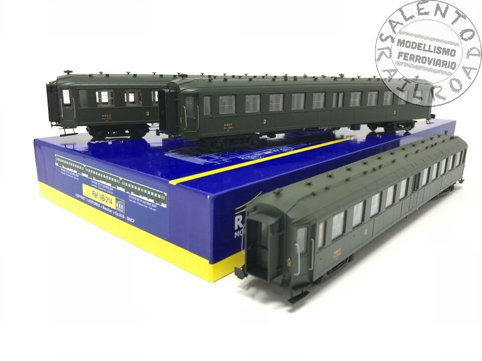 REE MODELS VB 214 conjunto de 3 coche Seek B11 verde SNCF 306 IIIb