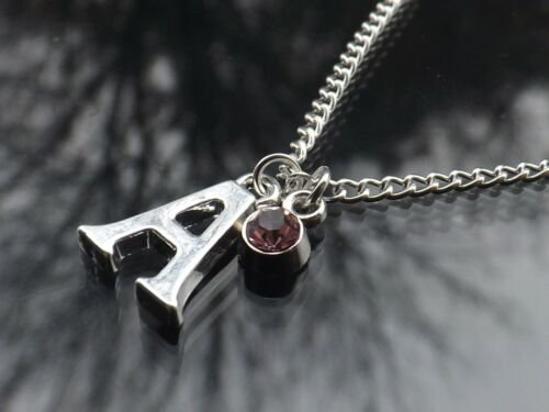 """Personalised Initial 20/"""" Birthstone Necklace /& Silver Plated Letter"""