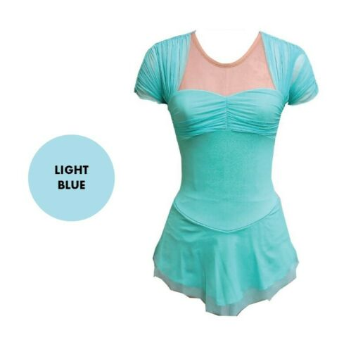 Details about  /DEL ARBOUR Blue Figure Skating Competition Dress Sweetheart Neckline Child 8-10