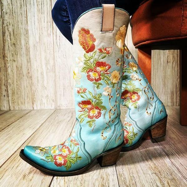 Corral Women's Turquoise & orange Floral Embroidery Snip Toe Western Boots C3304