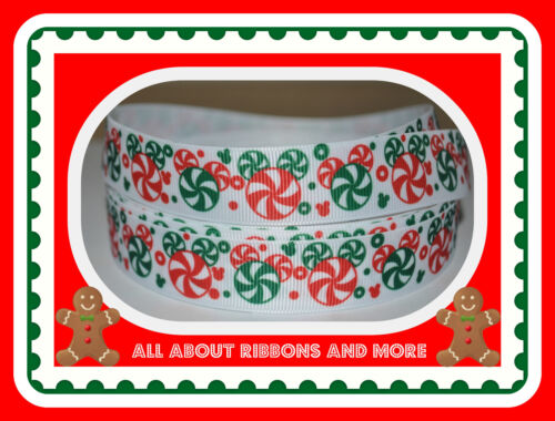 7/8 PEPPERMINT CANDY MICKEY CHRISTMAS WHITE GROSGRAIN RIBBON - 1 YARD