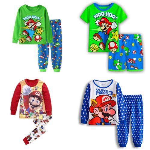 PJS Christmas Birthday Gift Character Nightwear Kid Super Mario Kids Pyjamas Set