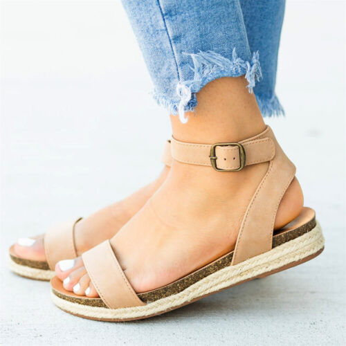 Womens Colour Flat Peep Toe Summer Espadrilles Platform Sandals Ankle Strap Size