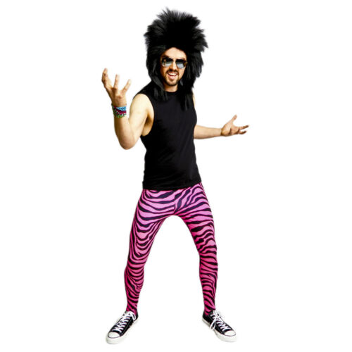 RAD Neon 80/'s Heavy Metal GLAM Rock Bon Jovi PINK ZEBRA Spandex Stretch Pants