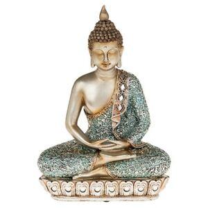 THAI-BUDDHA-MEDITATING-33cm-Sitting-Ornament-Figure-Statue-Figurine-Blue-amp-Gold