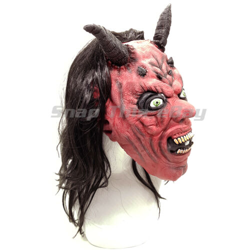 Devil Mask Hair Cosplay Latex Full Face Horror Scary Adult Halloween Party Horn