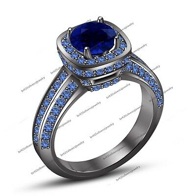 Women Blue Sapphire Black Gold Filled Engagement Ring Size 7 8 9 Rings Jewelry