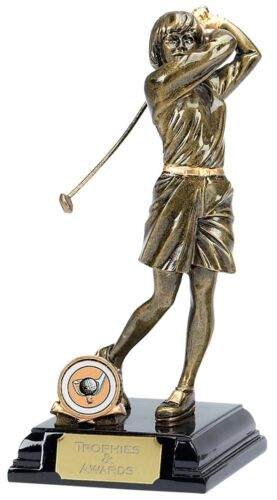 A042 225mm Resin Female Golfer Award including engraved plate REDUCED IN PRICE