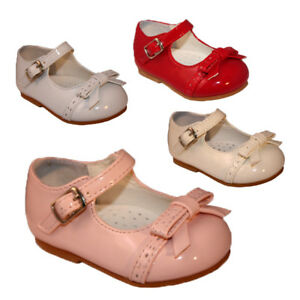 Girls Patent Faux Leather Bow Front Ankle Strap Shoes UK Sizes 1-6 Baby Girls