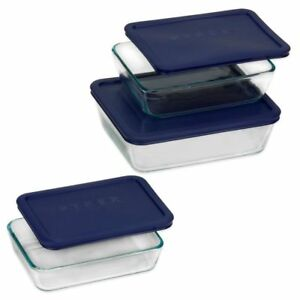 Pyrex-rectangular-glass-storage-6PC-set-food-container-paypal-crazy-sale