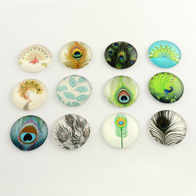 Peacock feather,Handmade Photo Glass Cabochon,Round cabochons,Cabs Cabochons,Image Glass Cabochon,glass cabochons,Dome cabochons