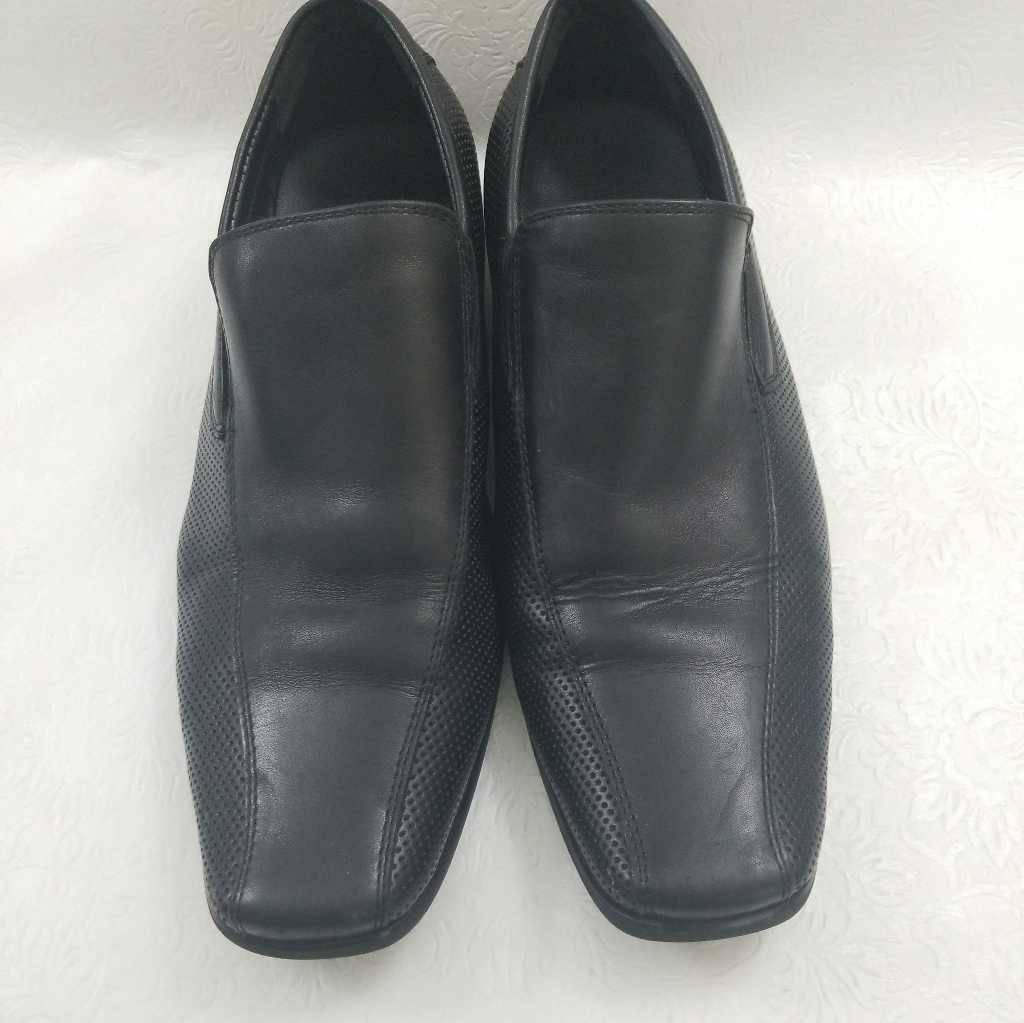 Kenneth Cole Reaction Mens Career Day Loafers Black Leather Square Toe Shoes 8 M