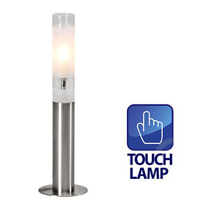 Modern Tall Silver Chrome Glass Touch Dimmer Bedside Table Lamp ...