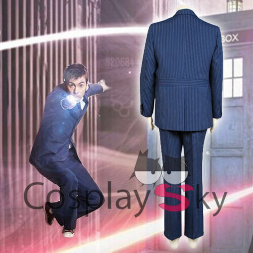 New Doctor 10th Doctor Who David Tennant Blue Suit Uniforms Cosplay costume