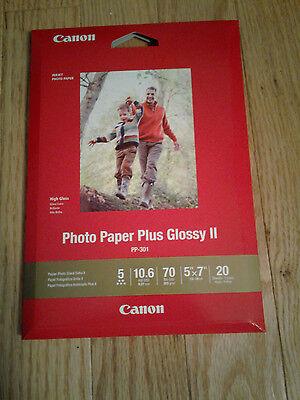 "5/""x7/"" 20 sheets Canon Printer Photo Paper Plus Glossy II"