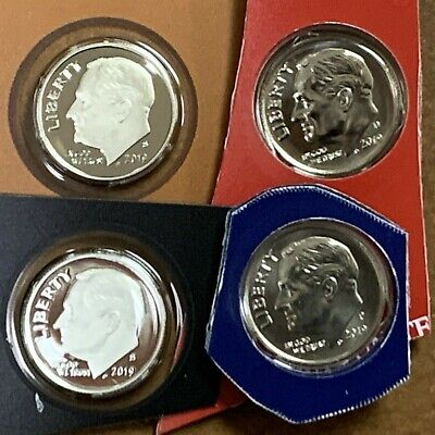 2019 P D S S Proof Silver BU Roosevelt Dime 4 Coins