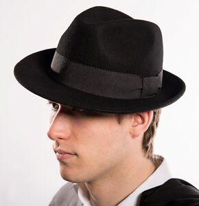 f34606aa40fe Detalles de Sombrero de Hombre Gorro Lana Clásico Padrino la Mafia Mujer  con Motivo Trilby
