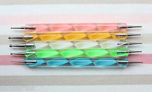 Dotting-Tool-Nail-Art-5er-Set-Gel-Modellage-Spot-Swirl-Kugelpinsel-Gel-Naegel