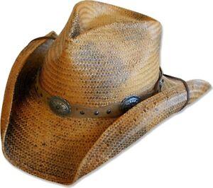 Paille Chapeau Cerceau Country Western Chapeau de cowboy Red Rock marron Stars & Bande-afficher le titre d`origine Uprn5W04-07165553-958326256