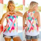 Summer Women Geometry Print Blouse Sleeveless Vest Tank Tops Tee Hobe T-Shirt CA