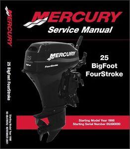 mercury outboard 25hp bigfoot 4 stroke oem service shop repair rh ebay com 25 HP Mariner Outboard Troubleshooting 20 HP Mariner Specs